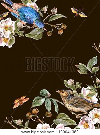 Vintage Greeting Card with Blooming Apple Trees and Birds