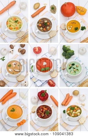 Collection Of Soups Soup Food In Bowl Tomato Vegetable Noodle