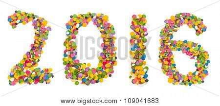 2016 made of confetti isolated on white background