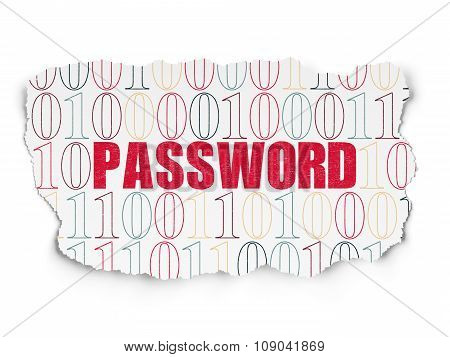 Safety concept: Password on Torn Paper background