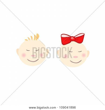 Two Smiling Kids Face