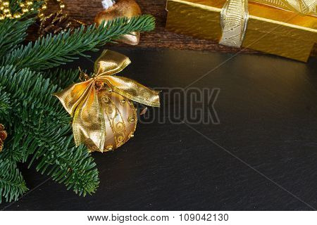 evergreen tree with golden decorations