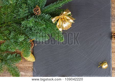 evergreen tree with golden ball