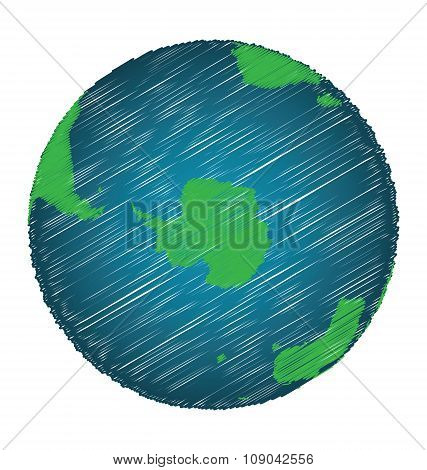 Earth Sketch Hand Draw Focus Antarctica Continent