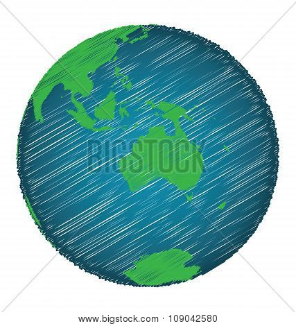 Earth Sketch Hand Draw Focus Australia Continent
