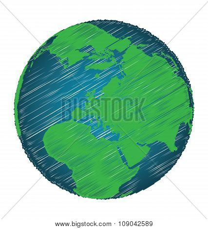 Earth Sketch Hand Draw Focus Europe Continent