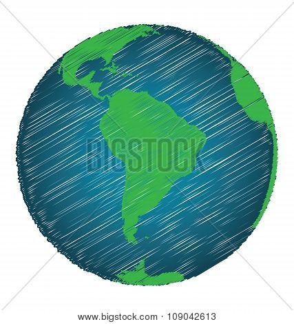 Earth Sketch Hand Draw Focus South America Continent