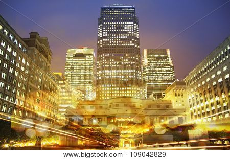 Canary Wharf Night view with traffic lights reflections, London