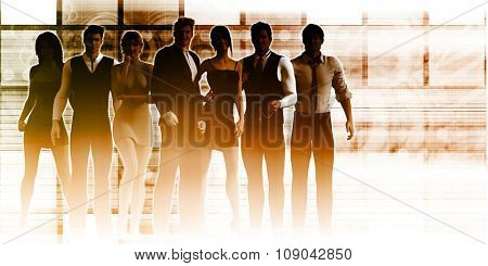 Business Team Standing with Leader in Front as a Concept