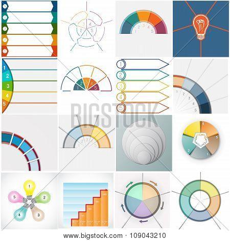 Vector 16 Templates Infographics Cyclic Processes