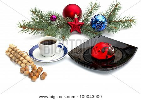 Plate With Red Cake, Coffee And Christmas Tree Decorations On A Coniferous Branch
