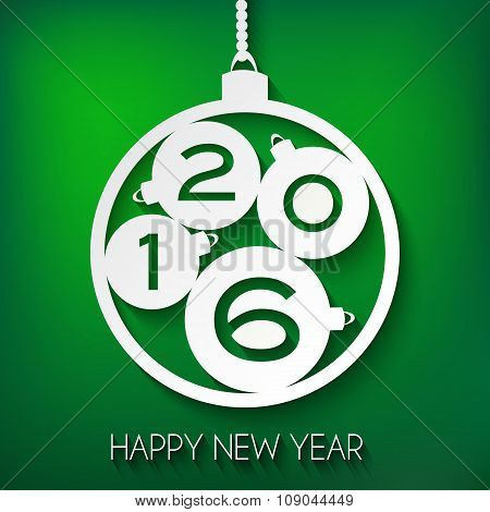 Happy New Year 2016 greeting card. Green Paper Vector illustrati