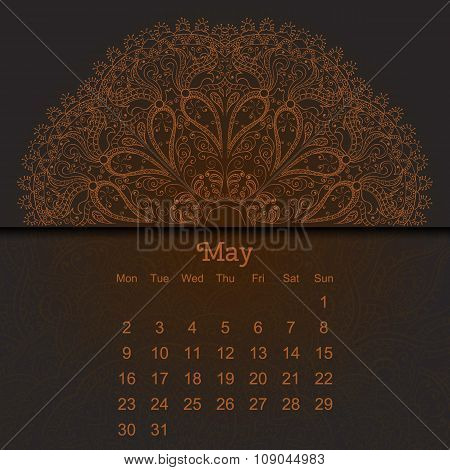 Calendar 2016 In Indian Style With The Mandala.
