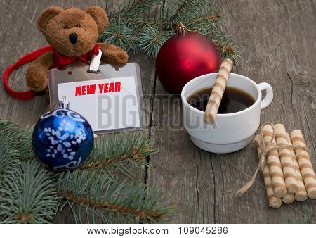Coniferous Branch, Coffee, Baking And Toy Bear With A Label New Year