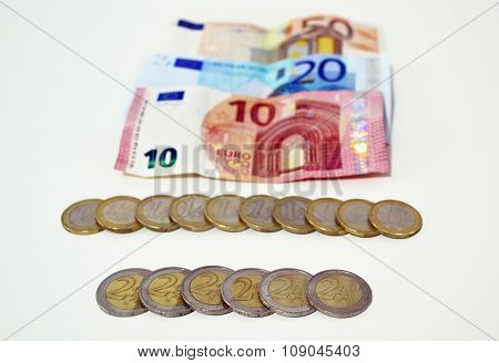 euros icon, save money or debt concept