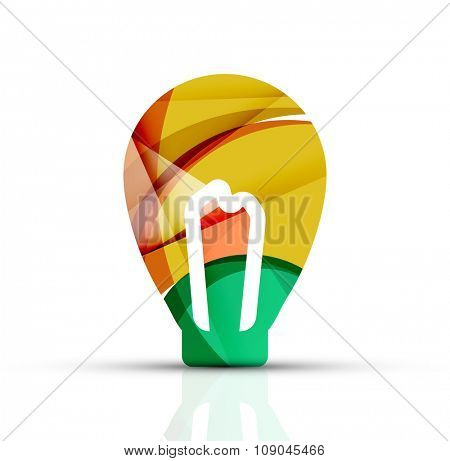 Abstract light bulb logo design made of color pieces - various geometric shapes. Vector illustration