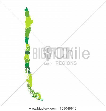 Chile Green Map Vector