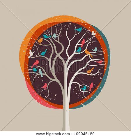 Birds in a tree, eps10 vector illustration