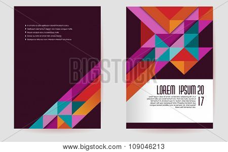 Colorful brochure template design, abstract triangles,eps10 vector