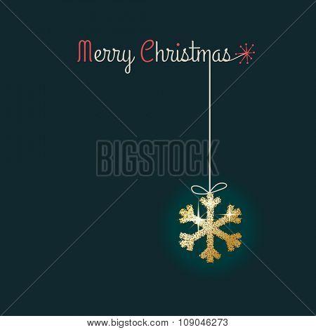 Glitter snowflake, Merry Christmas, greeting card, eps10 vector