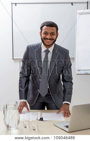 Successful manager in his office.