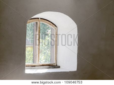 Old Beautiful Window And White Wall