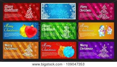 Happy New Year and Merry Christmas vector banner horizontal set with ornament snowflake pine, ball