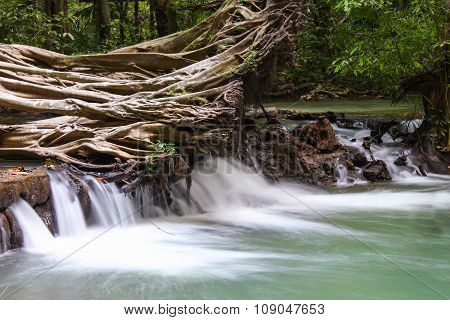 Paradise Waterfall With Fallen Tree, Located In Thanbok Khoranee National Park Of Thailand, Long Exp