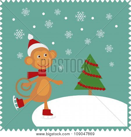 Greeting card with happy monkey
