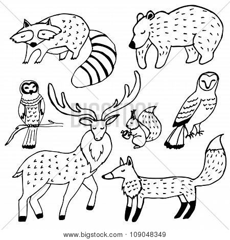 Forest animals drawings ink set