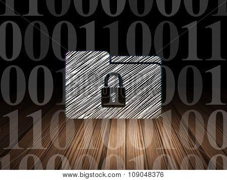 Business concept: Folder With Lock in grunge dark room