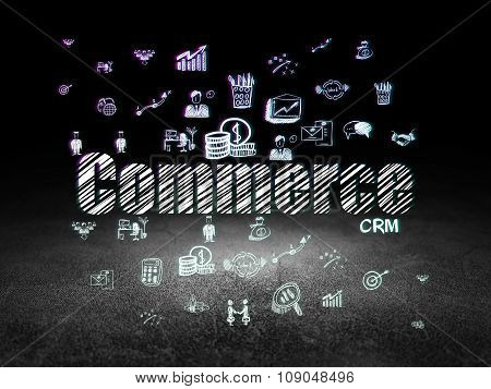 Business concept: Commerce in grunge dark room