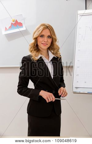 Business woman at the presentation.