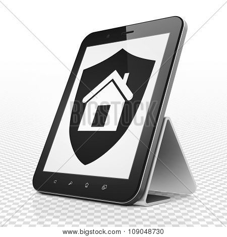 Finance concept: Tablet Computer with Shield on display