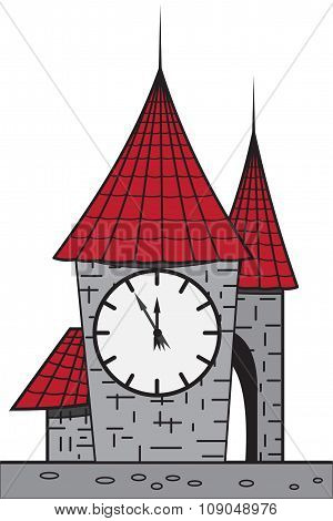 Cartoon Castle With A Clock