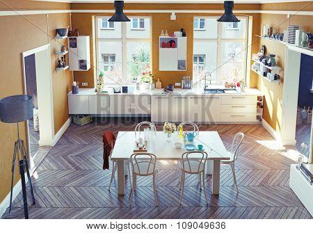 The modern kitchen interior. Top view.3d render concept