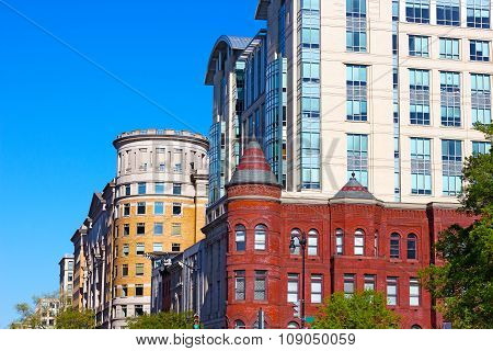 Blend of modern and historic buildings in Washington DC USA.