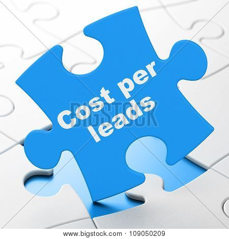 Business concept: Cost Per Leads on puzzle background