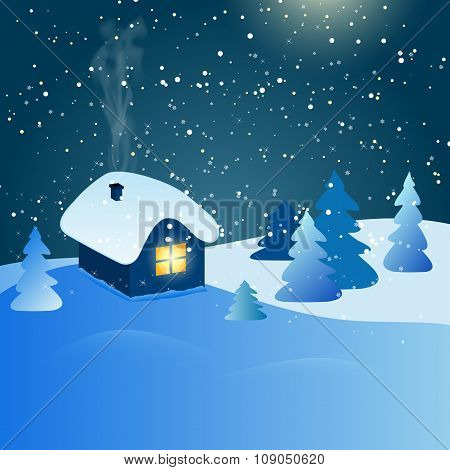 Abstract Winter Landscape With House And Snowy Forest At Night