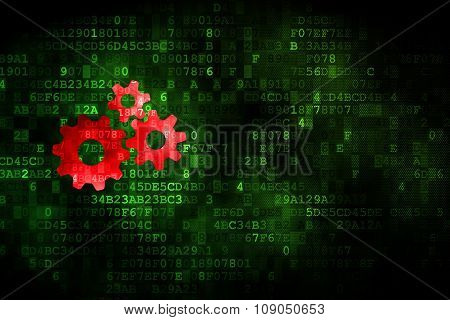 Business concept: Gears on digital background