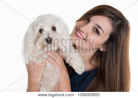 Young Woman, With White Dog, Looking Happy  Smiling