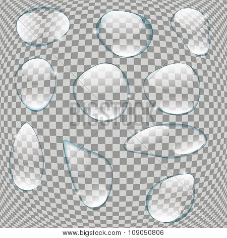 Realistic Water Drops Set On Transparent Background Vector Illus