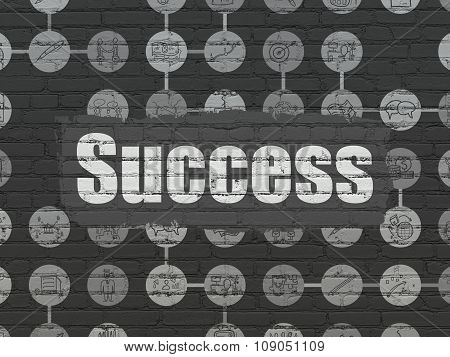Business concept: Success on wall background