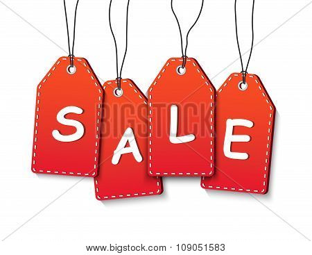 Suspended Sale Tags On White Background