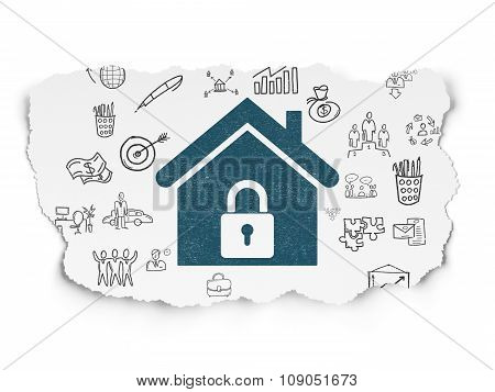 Finance concept: Home on Torn Paper background