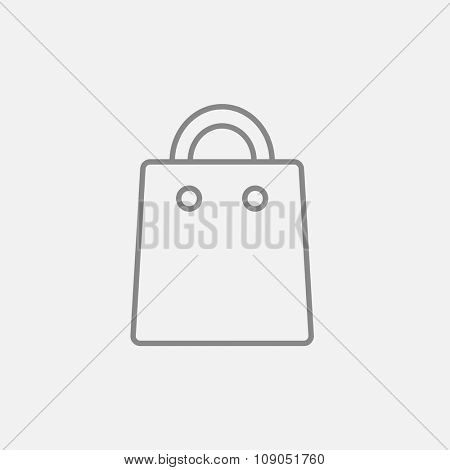 Shopping bag line icon for web, mobile and infographics. Vector dark grey icon isolated on light grey background.