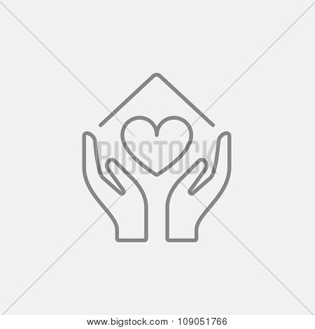 Hands holding house symbol with heart shape line icon for web, mobile and infographics. Vector dark grey icon isolated on light grey background.