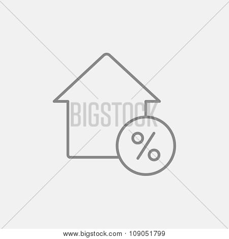 House with discount tag line icon for web, mobile and infographics. Vector dark grey icon isolated on light grey background.