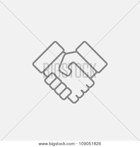 Handshake and successful real estate transaction line icon for web, mobile and infographics. Vector dark grey icon isolated on light grey background.