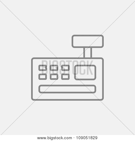 Cash register machine line icon for web, mobile and infographics. Vector dark grey icon isolated on light grey background.
